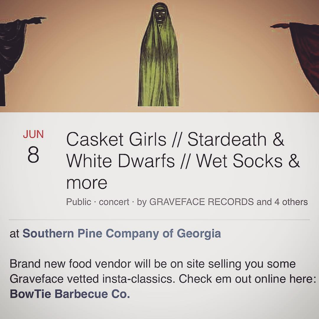 We're excited to be the featured vender for the kick off to the #gravefaceroadshow2016 at #SouthernPineCo. We're gonna be slinging our spin on Tacos de Panza, Chicken Tinga Tacos, and Barbecue Jackfruit (vegetarian!) Tacos. Gonna have some fantastic live music as well. @casketgirls will be releasing their new album as well. Grab tickets asap! Cheers! #barbecue #smoke #bowtiebarbecueco #bbq #tacos #vegetarian #tacosdepanza #chickentinga #bbqjackfruit #homemadetortillas #graveface #gravefacerecords @graveface_sav @graveface_recs @whattodoinsavannah @visitsavannah @southernpinecompany