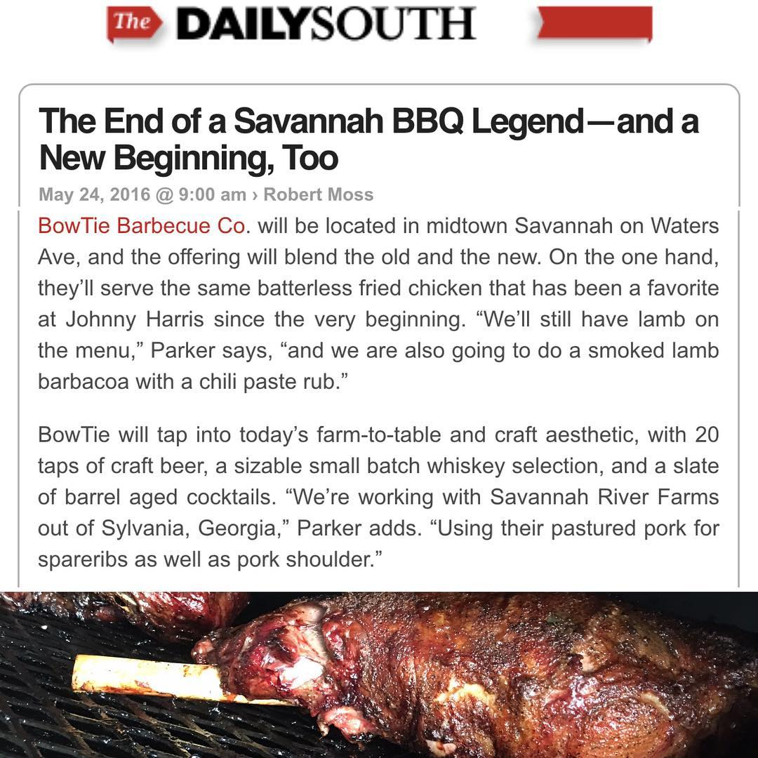 @robertfmoss from @southernlivingmag was kind enough to contact us about BowTie Barbecue Co. This is all a little bittersweet for us, but we're excited about our new adventures! http://thedailysouth.southernliving.com/2016/05/24/the-end-of-a-savannah-bbq-legend-and-a-new-beginning-too/ #BowTiebarbecueco #bbq #barbecue #lang #smoke #wood #savannah #dailysouth #southernliving #southernbarbecue #southernbbq #bowtiesarecool