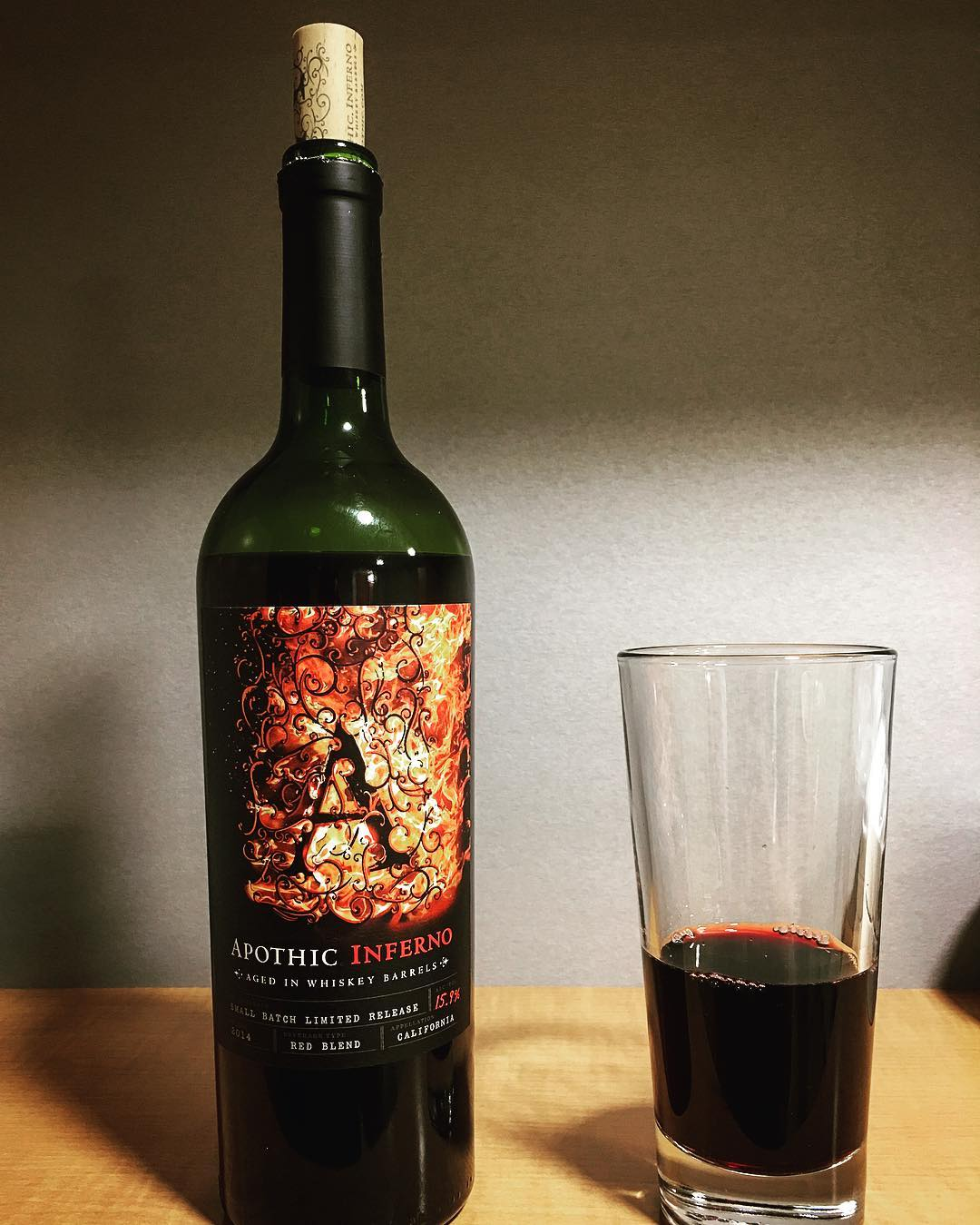This is Apothic Inferno. A red blend aged in bourbon...