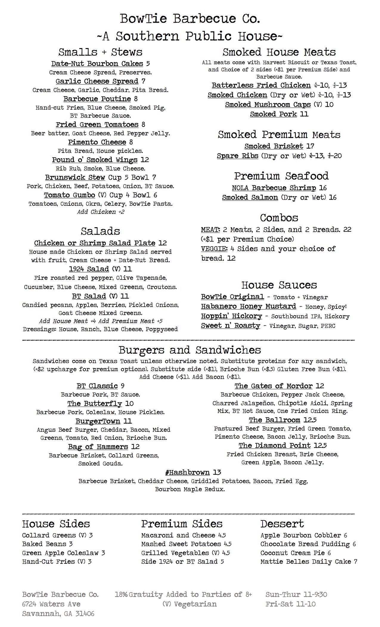 BowTie Barbecue Co. Food Menu - Savannah GA Barbecue