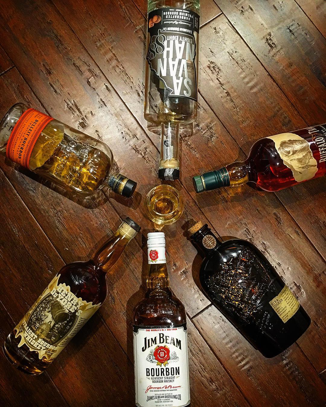 Happy National Bourbon Day! Always nice to bring your friends along... But who's in the glass?! @buffalotrace @jimbeamofficial @bandtbourbon @savannahbourbon @bulleit @ransomspirits #nationalbourbonday #nationalbourbonday2016 #bourbon #straightkentuckybourbon #whisky #whiskey #bourbonwhiskey #jimbeam #bibandtucker #henryduyores #bulleit #bulleitbourbon #buffalotrace #savannahbourbon #savannah #visitsavannah #bowtiebarbecueco #bowtiesarecool