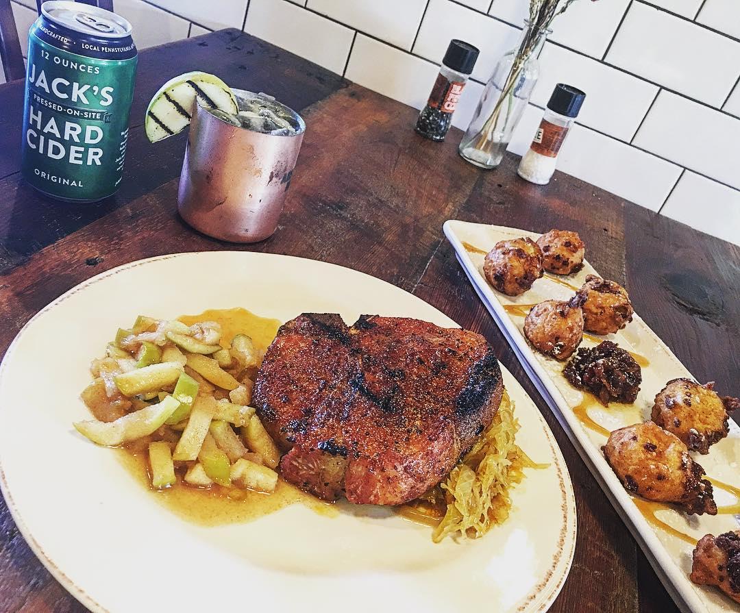 Pit Smoked Pork Chops with Rib Rub Cabbage and sautéed...