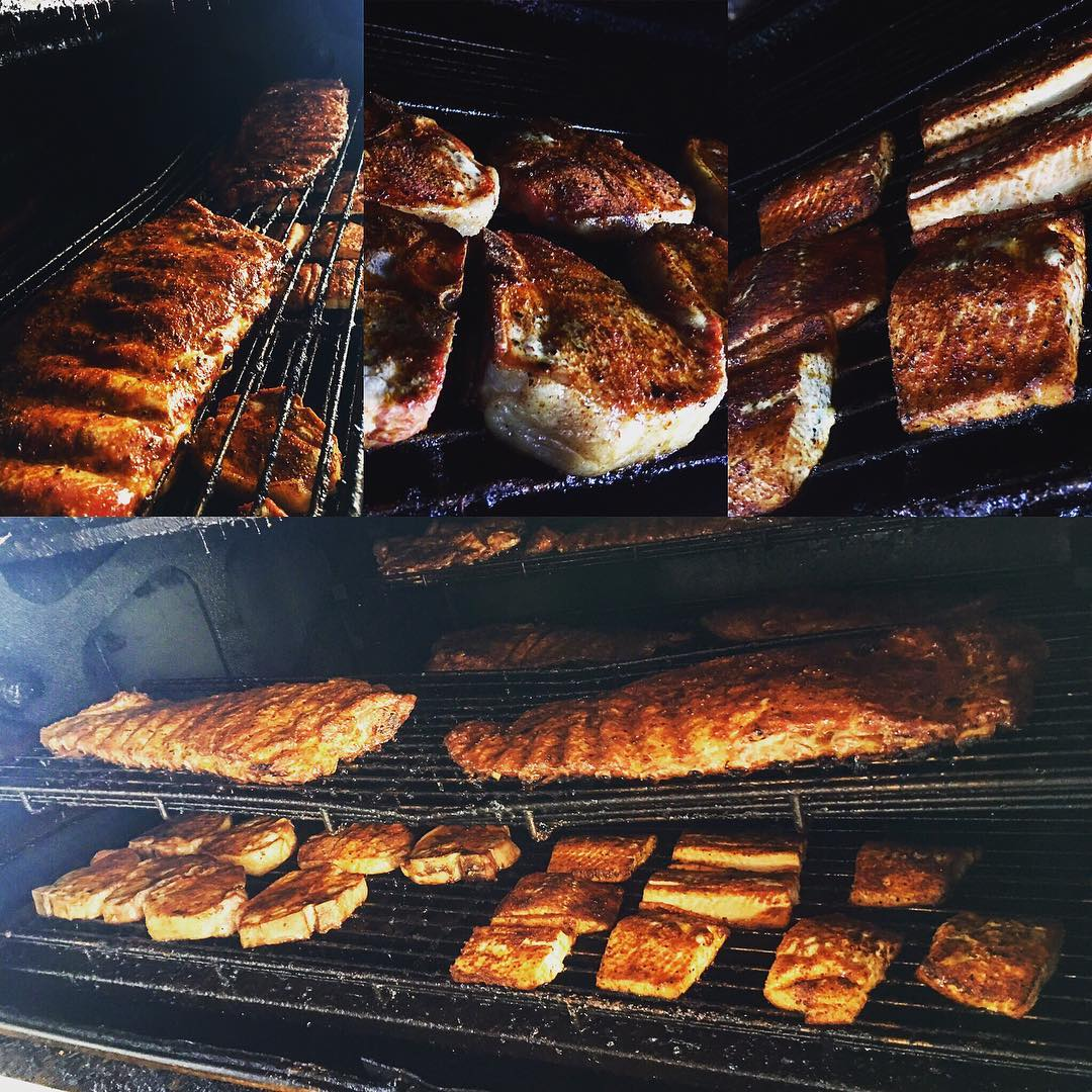 MEAT. Ribs, chops, and salmon. All about to come off...