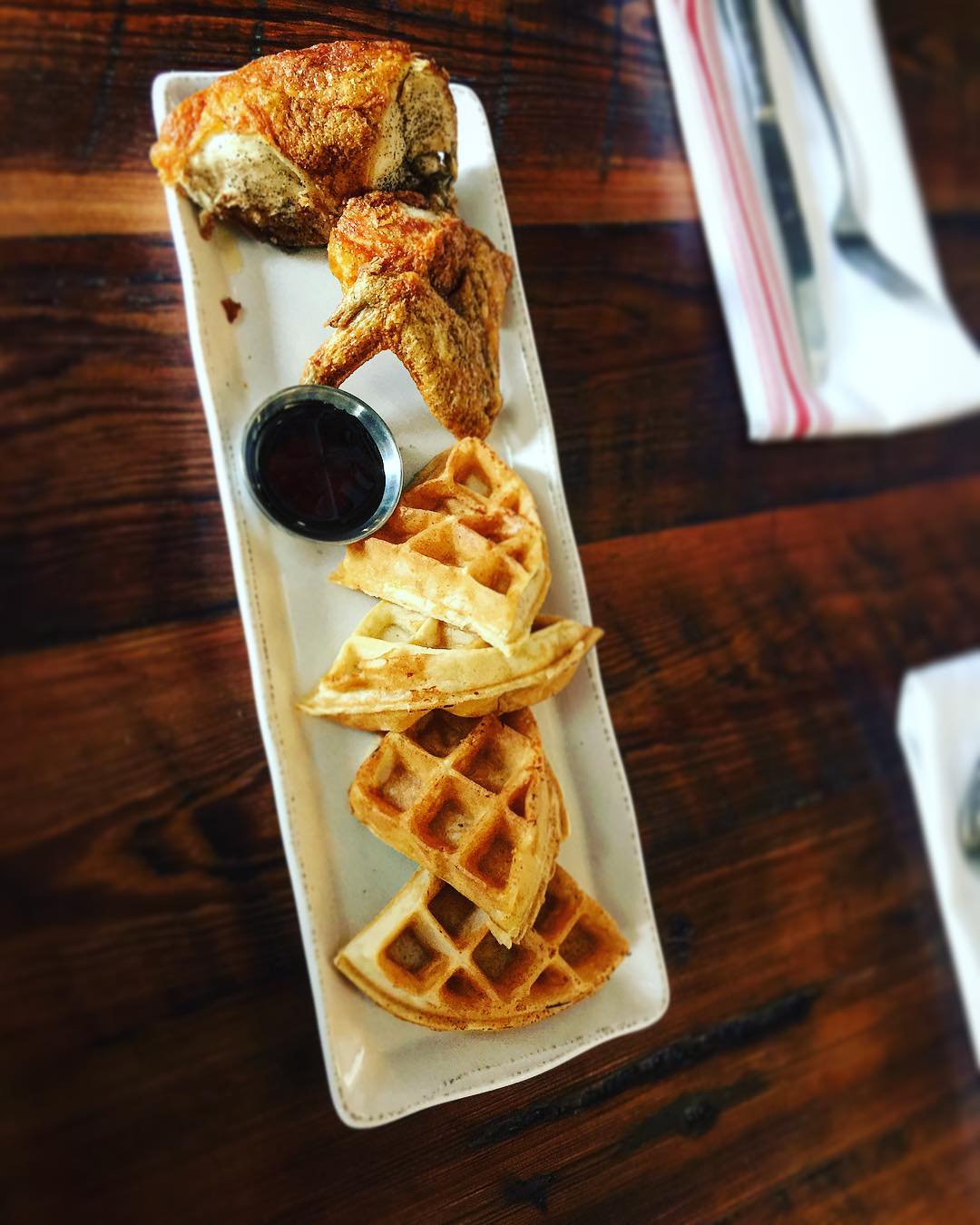Chicken + Waffles, kids. This week through next week. Get…